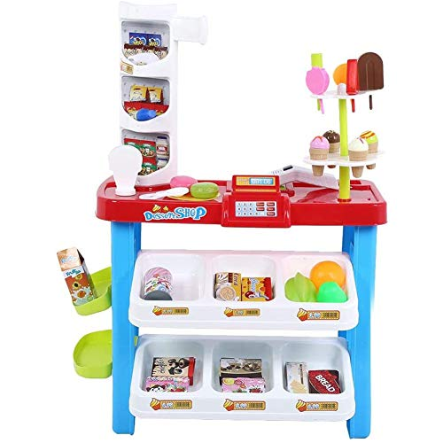 Kassa speelgoed kinderspeelgoed Simulated Electronic supermarktcontrole Bureau winkelwagen rollenspel speelgoed alsof (shopping cart),Blue