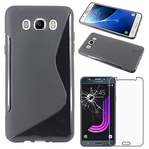 "ebestStar - Funda Compatible con Samsung J7 2016 Galaxy SM-J710F J710H Carcasa Gel Silicona Motivo S-línea, S-Line Case Cover, Negro + Cristal Templado Protector [Aparato: 151.7x76x7.8mm 5.5""]"