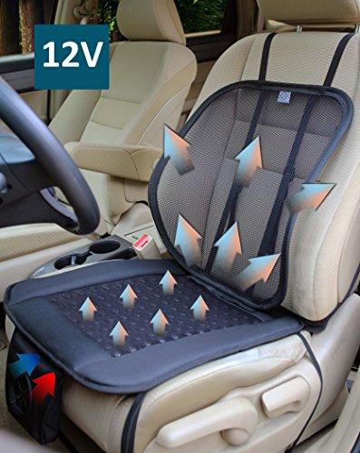 ObboMed® SA-4270 12V, Klimasitzauflage, Kühlung Ventilation Luftstrom Auto Sitz Ventilator Kissen Polster, mit verstellbarer Körperhaltung korriegierender Lenden Netz Stützung, Befestigung