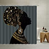 Afrikanischer weiblicher Duschvorhang im Retro-Stil, Indianer, antiker Ägypten, traditioneller Stamm, schwarze Frau, abstrakte Silhouette, Kunst, Polyester-Stoff, mit Haken (schwarz, 178 x 178 cm)