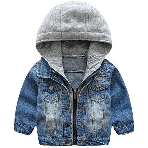 Odziezet Giacca di Jeans con Cappuccio da Bimbi Cappotto a Manica Lunga Casuale Ragazzi 0-8 Anni