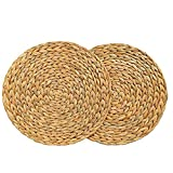 YYZZ Mantel individual, mantel redondo de ratán tejido Manteles individuales de ratán Mantel individual de calabaza de agua Alfombrilla redonda para mesa de comedor