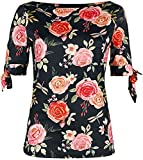 Voodoo Vixen Rosabeth Floral Knit Top Mujer Camiseta Multicolor M, 95% Polyester,5% Elastán, Estrechos