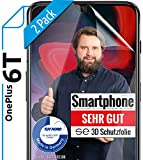 [2 Stück] 3D Schutzfolien kompatibel mit OnePlus 6T - [Made in Germany - TÜV Nord] – HD Bildschirmschutz-Folie - Hüllenfre&lich – Transparent – kein Schutz-Glas sondern Panzer-Folie TPU - Klar
