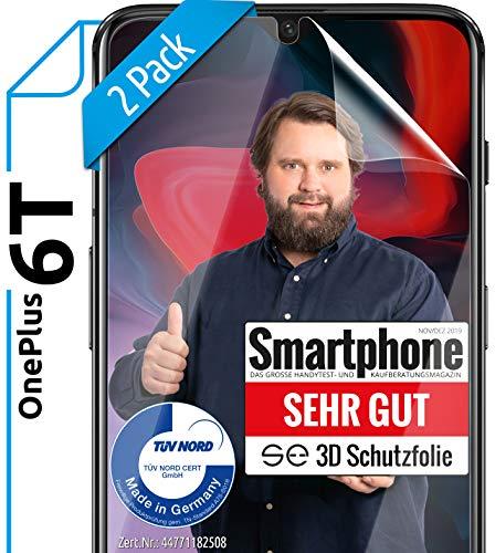 [2 Stück] 3D Schutzfolien kompatibel mit OnePlus 6T - [Made in Germany - TÜV Nord] – HD Displayschutz-Folie - Hüllenfreundlich – Transparent – kein Schutz-Glas sondern Panzer-Folie TPU - Klar