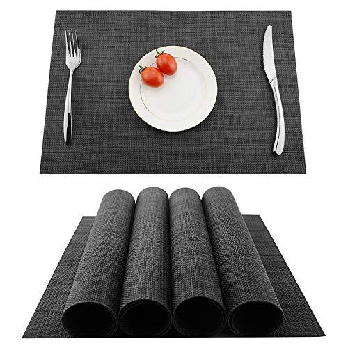 Lugoo Tovagliette PVC Set di 4 Tovagliette da Tavola Lavabili Non-scivolose Tovagliette in Vinile Facili da Pulire per Hotels Ristorante Catering 45 x 30 Cm( Nero Marrone)