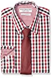 Nick Graham mens Stretch Modern Fit Mini Check Dress and Solid Tie Set Button Down Shirt, Red, 18 -18.5 Neck 36 -37 Sleeve US