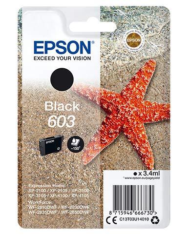 Epson Stella Marina serie 603, Cartuccia per Stampante a Getto d'Inchiostro, 1 Colore Nero, Formato Dimensioni Standard, Stampe Affidabil Casa Ufficio Basso Costo Fino 150 Pagine