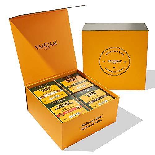 4 TURMERIC Tea Bag Set: This Wellness Tea Set is a combination of the wonderful spice from India with the most beneficial herbs. Ginger Turmeric, Ashwagandha Turmeric, Moringa Turmeric and Turmeric Spices | herbal teas for weight loss | slimming infu...