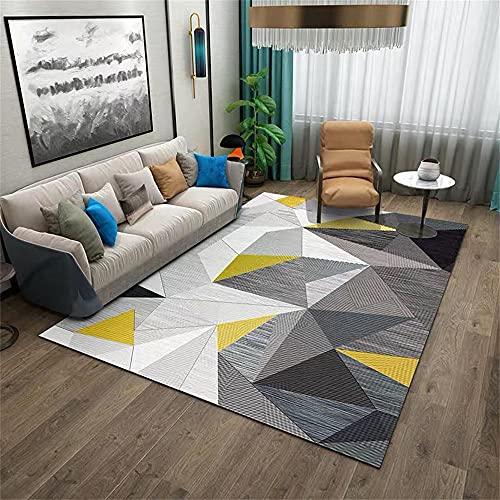 Tappeti Pelo Lungo Morbido Tappeto Soggiorno grande tappeto moderno design moderno tappeto esterno grigio bianco giallo triangolo geometrico Tapeti 140X200cm
