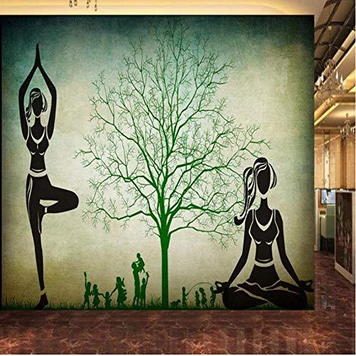 Dalxsh Retro Nostalgie-Großer Baum-Schattenbild-Yoga-Pavillon-Wand-Yoga-Turnhallen-Dekorations-Wandbild-Kundenspezifische Tapete Des Foto-3D-280X200Cm
