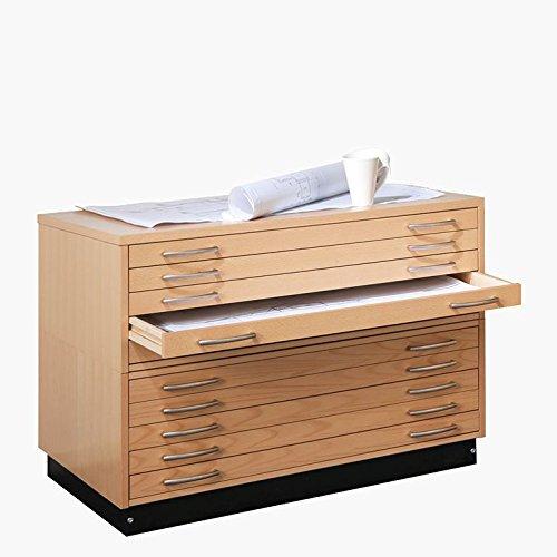 AJ Produkter AB 10528 Planschrank DIN A0 mit 10 Laden, Furnier Buche