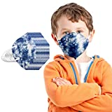 20 Stück Kinder Mundschutz Einweg 5-lagige_Nicht Gewebt mit Motiv Bunt Mund Nasenschutz Cartoon Drucken Tücher Atmungsaktiv Mund-Tuch Bandana Halstuch Schals für Mädchen (Blaue Tarnung)