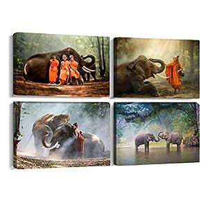 4 Panels Elephant Walking in The Forest Canvas Wall Art Painting Landscape Print Framed Artwork Modern Home for Living Room Bathroom Bedroom (Elephant/B, 8x12inchx4pcs)