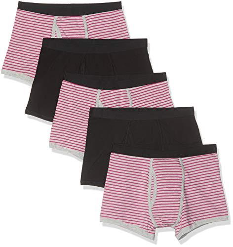 Marca Amazon - find. Calzoncillo Corto de Algodón Hombre, Pack de 5, Multicolor (Neon Pink & Grey Stripes/Black), L, Label: L