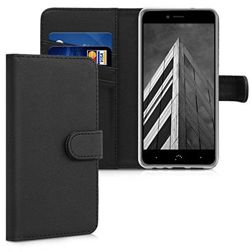 kwmobile Hülle kompatibel mit bq Aquaris X2 / X2 Pro - Kunstleder Wallet Hülle mit Kartenfächern Stand in Schwarz