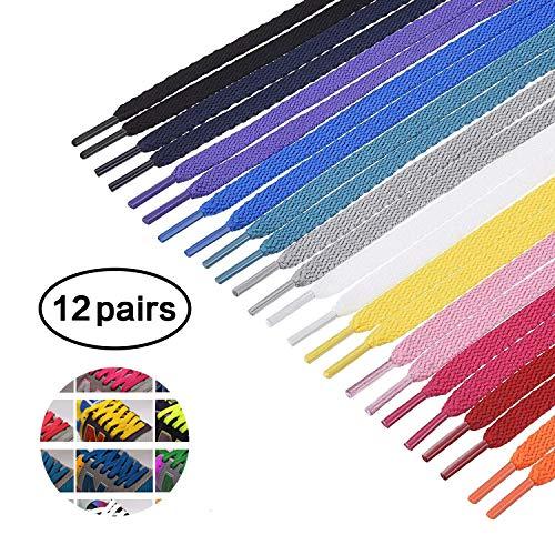 12 paar kleurrijke schoenveters platte schoenveters 0,8 cm breed en 100 cm lang voor sportschoenen laarzen Sneakers Skates