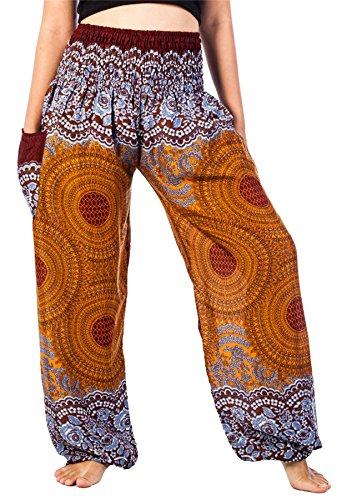 LOFBAZ Palazzo Pants for Women Harem Yoga Maternity Joggers Pajama Hippie Boho Travel Lounge Clothing Bohemian Beach Rose 1 Brown XXL