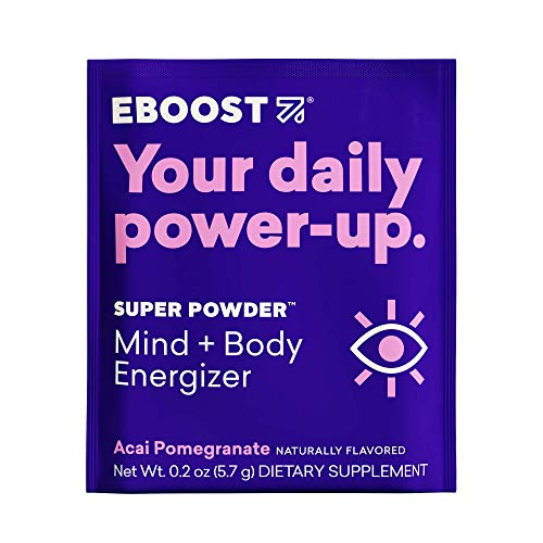 EBOOST Super Powder Energy Drink Mix - 20 Packets - Acai Pomegranate - an Effervescent Blend of Vitamin C, B12, Zinc, Electrolytes, and Natural Caffeine Plus Hydration - Pre-Workout Powder - No Sugar