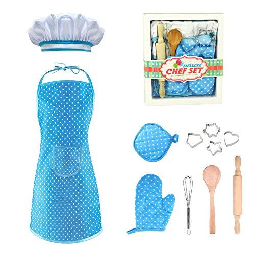 EUTOYZ Spielzeug für Jungen 4-12 Jahre,Geschenke für Jungs ab 4-12 Jahre Kinder Backset Jungen Mädchen Kochschürze Geburtstagsgeschenk für Jungen 4-12 Jahre Junge Spielzeug(Blau)