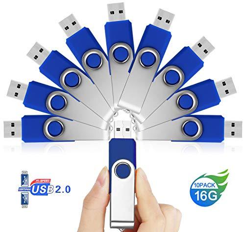 16GB Chiavetta USB 10 Pezzi – JUYUKEJI 16 GB Chiavette Pennetta Pendrive Penna Memoria USB Stick Flash Drive con Metallo Clip and Portachiavi Gancio per PC Tablet Macbook TV Auto (16 Giga, Blu)