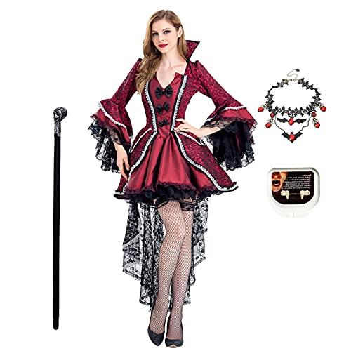 AISHANGYIDE Disfraz de Vampiro para Mujer Adulto Disfraz de Halloween Dama Traje de Mago Bruja Cosplay Disfraces Vestido de Medieval Gtico Retro Vestido de Fiesta de Carnaval
