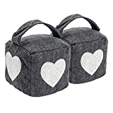 Nicola Spring Home Interior Doorstop - Grey Heart Herringbone Patterned Door Stop with Handle - Pack of 2