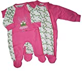 gelati Baby Mädchen 2er-Pack Schlafanzug 1tlg. Langarm mit Fuß Froschkönig pink/weiß 16180005 (50)