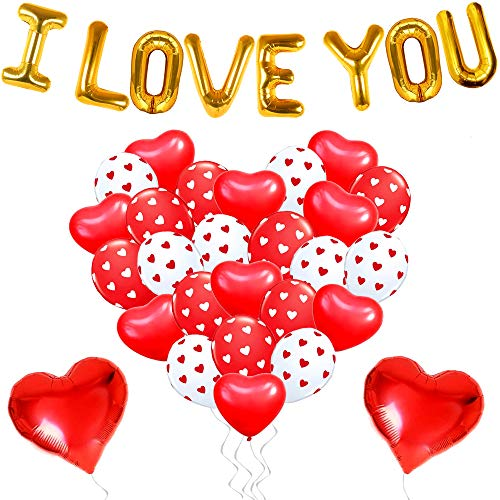 I LOVE YOU Balloons for Valentines Day Decorations - Pack of 35 | I Love You Balloon Banner, Printed Latex and Heart Shaped Balloons | Valentine's Day Balloons for Romantic Special Night, Anniversary