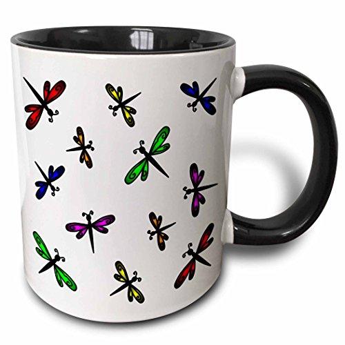 3dRose Dancing - Taza de cerámica, diseño de libélulas, Color Negro, 10,16 x 7,62 x 9,52 cm