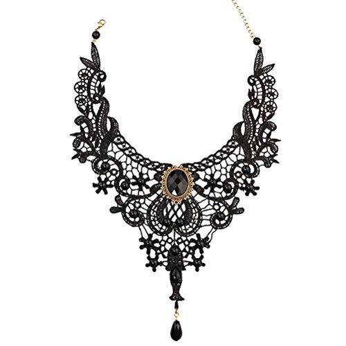 LUOEM Spitzen Halskette mit Anhänger Damen Mädchen Gothic Halsschmuck Vintage Halsband Choker (Schwarz)
