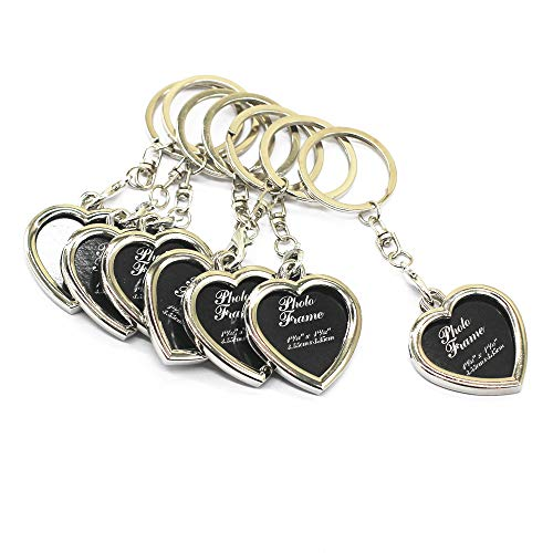 M-W Fashion Keychain with Locket Photo Frame - Pack of 7 - Insert Photo Picture Frame Key Ring Keychain Key Holder (Heart)