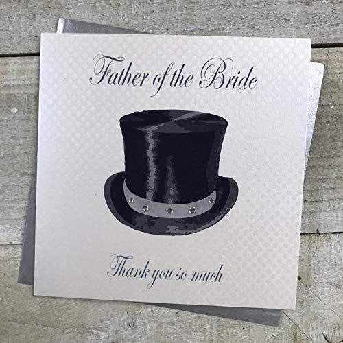 Witte Katoenen Kaarten Vader van de Bruid Much' Handgemaakte Bruiloft Dank U Kaart (Top Hoed Design)