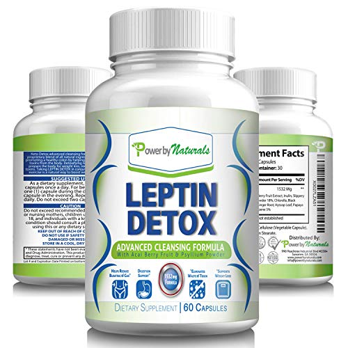 pure leptin supplements Power by Naturals Leptin Detox Advanced Colon Cleanser, Weight-Loss Supplement for Women and Men, 60 Capsules
