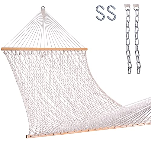 Lazy Daze 13 ft Hand Woven Cotton Rope Hammock with Spreader Bars, Hooks and Chains for Patio, Backyard, Beaches, Accommodates Two People with a Weight Capacity of 450 lbs, Natural