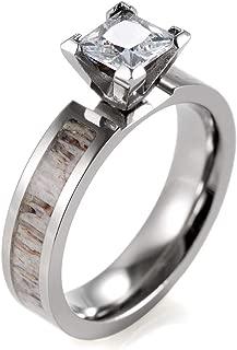 SHARDON Women's 5mm Titanium Cubic Zirconia Engagement Ring with Genuine Antler Inlaid