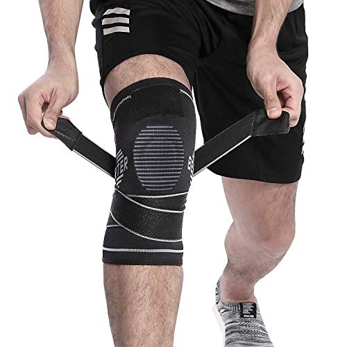 BERTER Knee Support, Compression Knee Brace with Non-slip Adjustable Pressure Strap for Pain Relief Meniscus Tear, Arthritis, Running, Basketball, MCL, Crossfit, Jogging Post Surgery Recovery Men & Women (M)