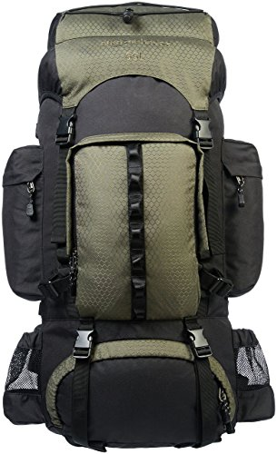 Amazon Basics Internal Frame Hiking Backpack with Rainfly, 55 L, Green