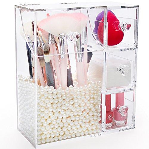 Newcrea Make-up-Pinselhalter mit Deckel, großer Kosmetikpinsel-Organizer mit 3 Schubladen, staubdichte Box mit Perlen für Lippenstifte, Schwamm, Pinsel, Make-up-Tools, transparent