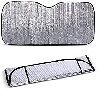 AUTOKS Windscreen Cover, Universal Foldable Removable Large Silver Car Windshield Windscreen Sun Shade Heat Reflective Windshield Visor