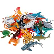 Realistic sea animal figures made of vinyl plastic are safe for child to play, the sea animal learning toys set contain 36 pack marine animal and 2 pack corals Realistic ocean animal toys: 5cm-7.5cm per one, these sea animal toys set not only can be ...