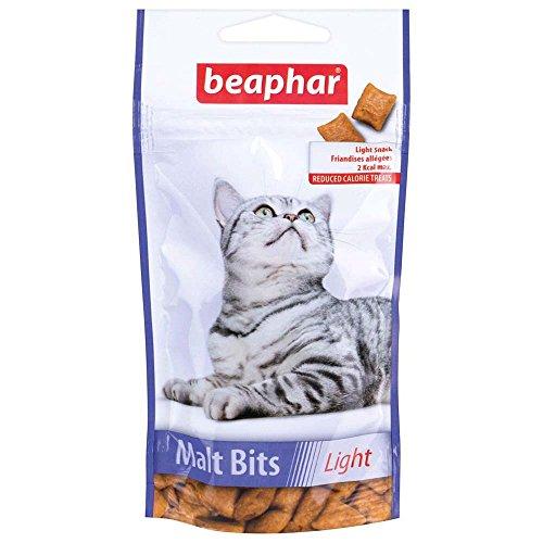 BEAPHAR – Friandises Malt Bits Light, allégées au Malt pour chat – Idéal pour les chats en surpoids – 1 friandise contient moins de 2 Kcal – Empêche la formation de boules de poils – 35 g