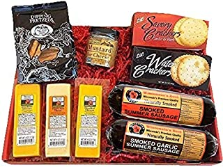 Deluxe Classic Gift Basket - features Summer Sausages, 100% Wisconsin Cheeses, Crackers, Pretzels & Mustard | Perfect Gift