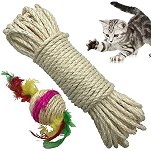 Yangbaga Cat Natural Sisal Rope for Scratching Post Tree Replacement, Hemp Rope for Repairing, Recovering or DIY Scratcher, 6mm Diameter, Come with a Sisal Ball (66FT) White