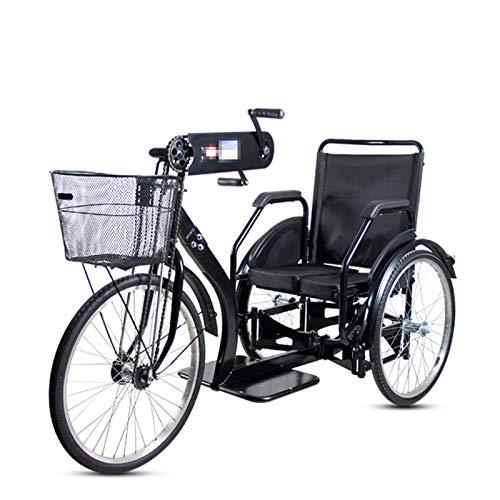 TWW Handgekurbelte Dreirad-Dreirad-Rikscha Für Ältere Menschen Und Die Behinderte Handstand-Dreirad-Rikscha Mit Kleinem Rad Und Faltbarem Roller-Dreirad