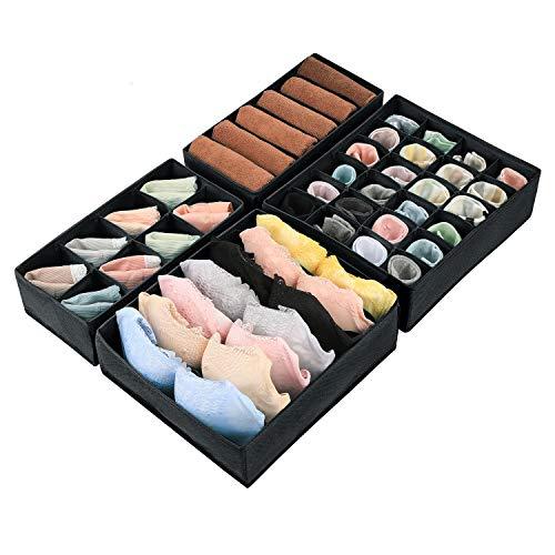 Magicfly Büstenhalter Aufbewahrungsbox, 4 Stück Faltbare BH Organizer für Unterwäsche, Dessous, Socken für Schublade Kleiderschrank Schwarz