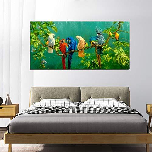 mmzki El Loro descansando en la Rama Cartel de la Lona Acuarela Moderna Bosque Tropical Pájaro Arte de la Pared Pintura Decoración del hogar D