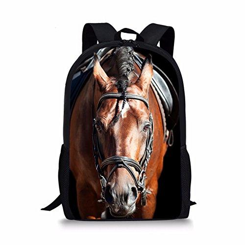 Nopersonality Classic Black Girls Boys Horse Backpack Creative Kids Bagpack