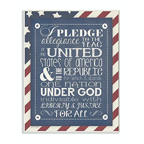 The Kids Room by Stupell Pledge of Allegiance with American Flag Background Rectangle Wall Plaque, 11 x 0.5 x 15, Proudly Made in USA