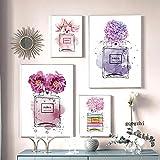ZYQYQ Acuarela abstracta cartel de perfume flor púrpura lienzo pintura imágenes dormitorio sala de estar decoración 30x40cmx2 40x60cmx2 sin marco